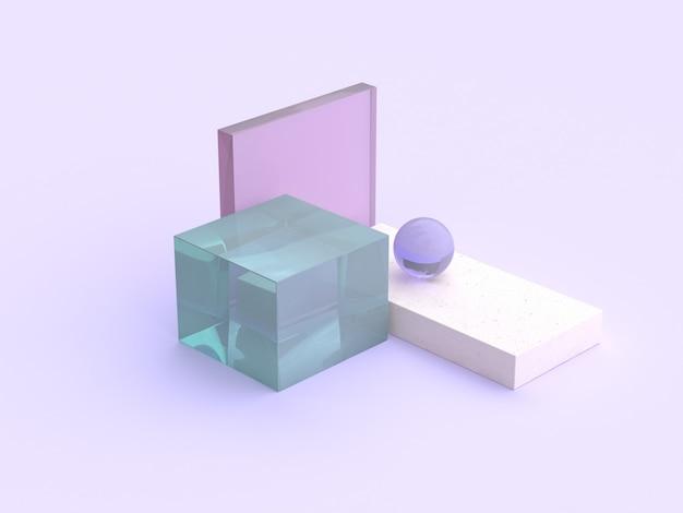 Rendu 3d abstrait forme claire violet scène de plancher