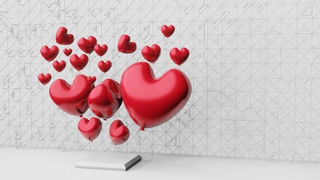 Rendu 3d abstrait en forme de coeur fond saint valentin 14 février