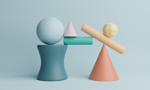 Rendu 3d abstrait de formes géométriques. fond minimaliste.