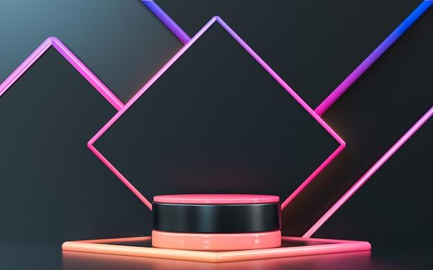 Rendu 3d abstrait géométrique avec affichage sur podium pour la présentation du produit
