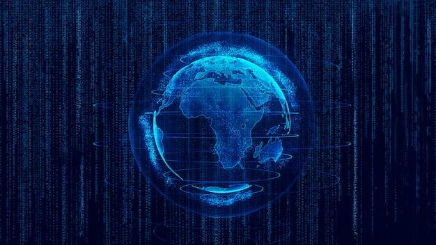 Rendu 3d abstrait globe planète virtuelle terre