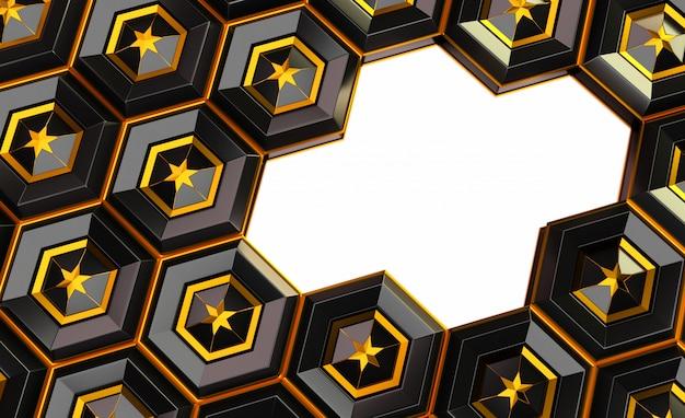 Rendu 3d d'abstrait. hexagone 3d