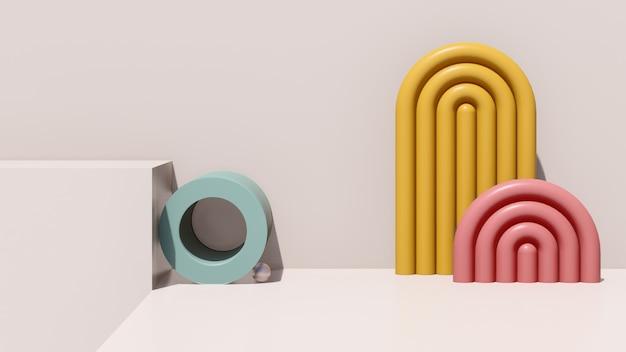 Rendu 3d abstrait image surréaliste espace vide avec fond blanc publicité d'affichage de produit