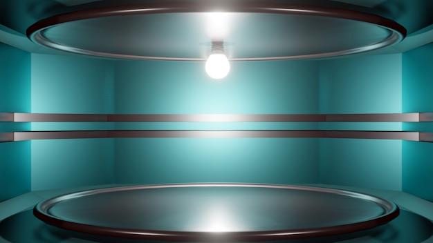 Rendu 3d abstrait intérieur futuriste avec une scène vide.