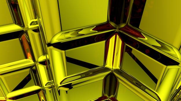 Rendu 3d abstrait jaune
