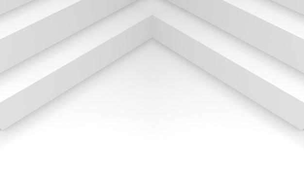 Rendu 3d. abstrait long coin de cube sur fond blanc espace copie.