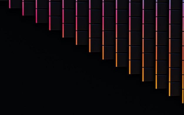 Rendu 3d abstrait de luxe de forme carrée dégradé foncé