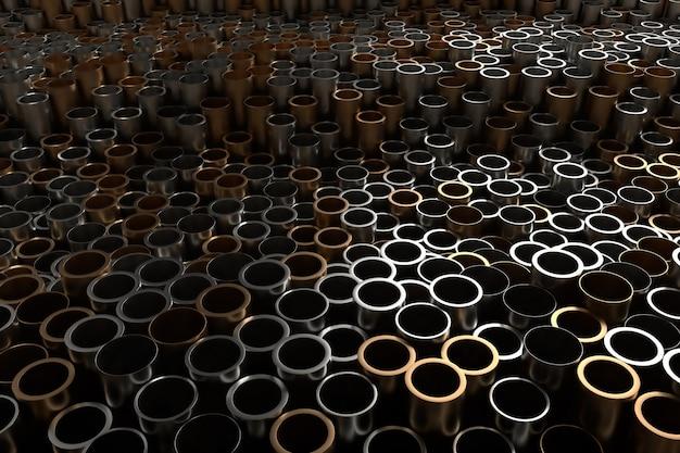 Rendu 3d abstrait en métal avec des tubes verticaux aléatoires. les tubes aléatoires poussent de haut en bas.