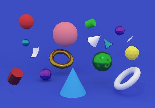 Rendu 3d, abstrait minimal, couleur.