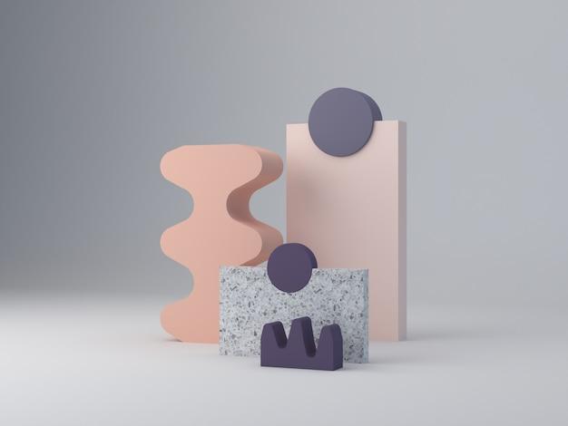 Rendu 3d, abstrait minimal, couleurs violettes et pastel. paysage minimaliste avec formes texturées et podium. des couches de terrazzo et des formes courbes pour montrer les produits. scène aux formes géométriques.