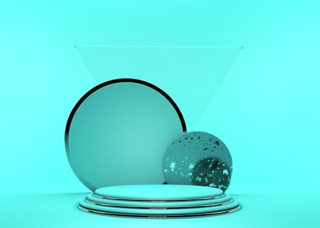 Rendu 3d. abstrait minimal. podium vide, piédestal vide, scène moderne, vitrine. cadre rond en argent, marches de cylindre, concept moderne, espace vide. couleur vert vif