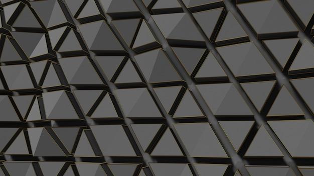 Rendu 3d abstrait or noir fond