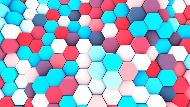 Rendu 3d abstrait pastel coloré de nombreux hexagones géométriques techniques comme toile de fond.