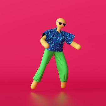 Rendu 3d abstrait personnage de dessin animé chauve jaune portant des vêtements d'été colorés et des lunettes de soleil