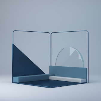Rendu 3d abstrait avec podium d'angle. plateformes pour montrer un produit.