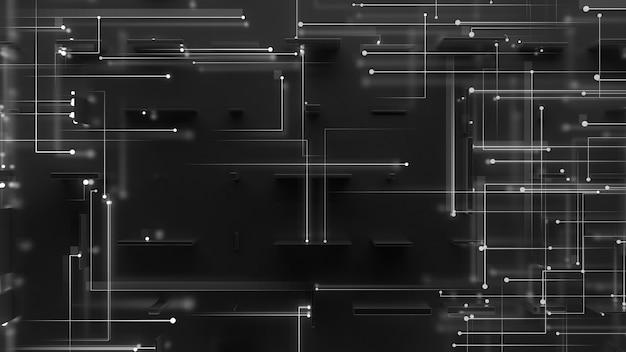 Rendu 3d abstrait réfléchissant avec des particules qui vont au centre du côté opposé. émission de particules sur deux côtés. thème numérique.