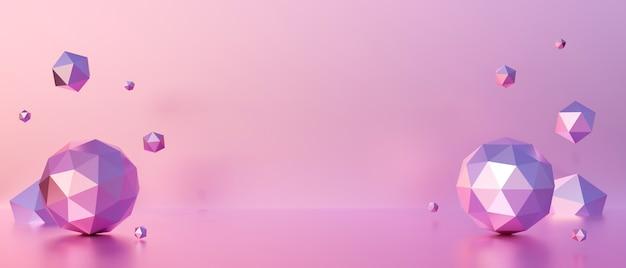 Rendu 3d abstrait de la scène de fond pastel rose avec une forme géométrique.