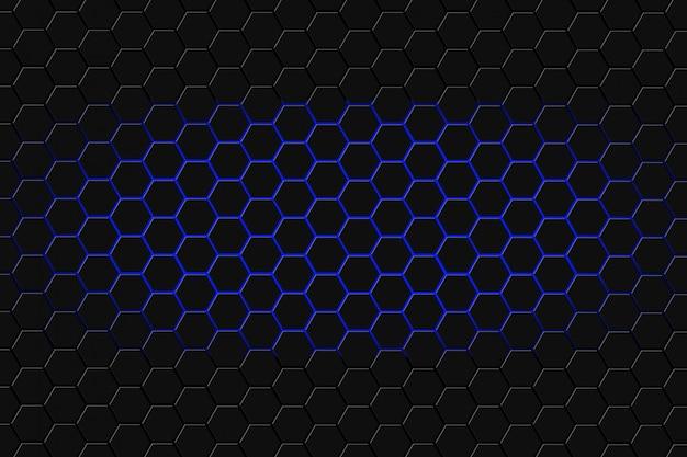 Rendu 3d abstrait de surface futuriste avec des hexagones. fond bleu de science-fiction.