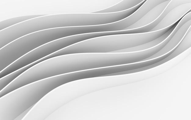 Rendu 3d abstrait vagues blanches
