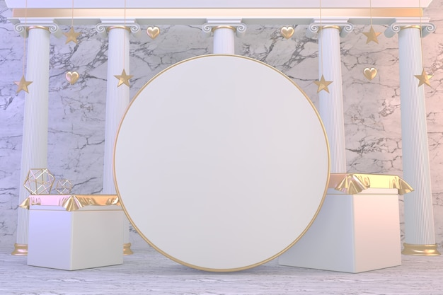 Rendu 3d. affichage de cylindre abstrait podium or moderne et minimaliste.