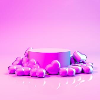 Rendu 3d. affichage de produit abstrait avec des bonbons coeur