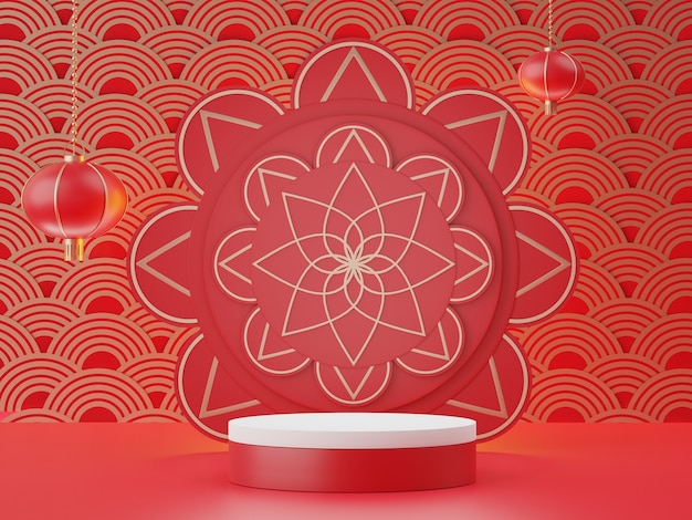 Le rendu 3d des affichages stand podium avec le thème du nouvel an lunaire chinois pour l'année du boeuf