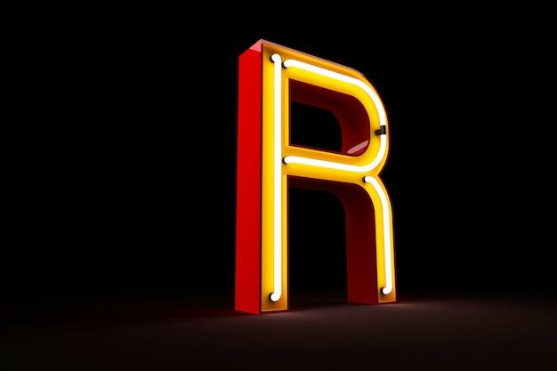 Rendu 3d de l'alphabet néon lumière sur fond noir