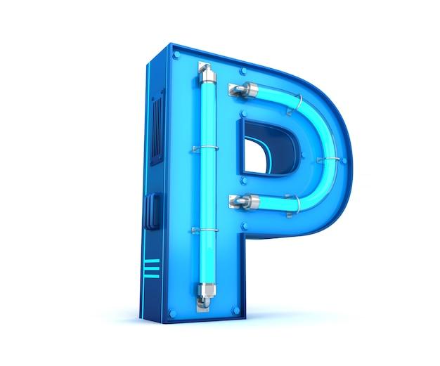 Rendu 3d alphabet néon lumineux avec un tracé de détourage