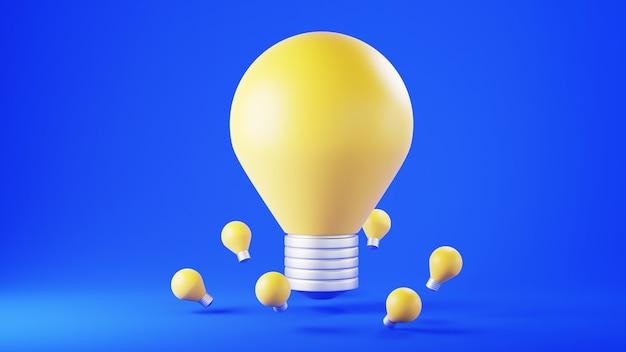Rendu 3d de l'ampoule sur le mur bleu. formes 3d réalistes. concept de l'éducation. transmettez vos connaissances et vos idées.