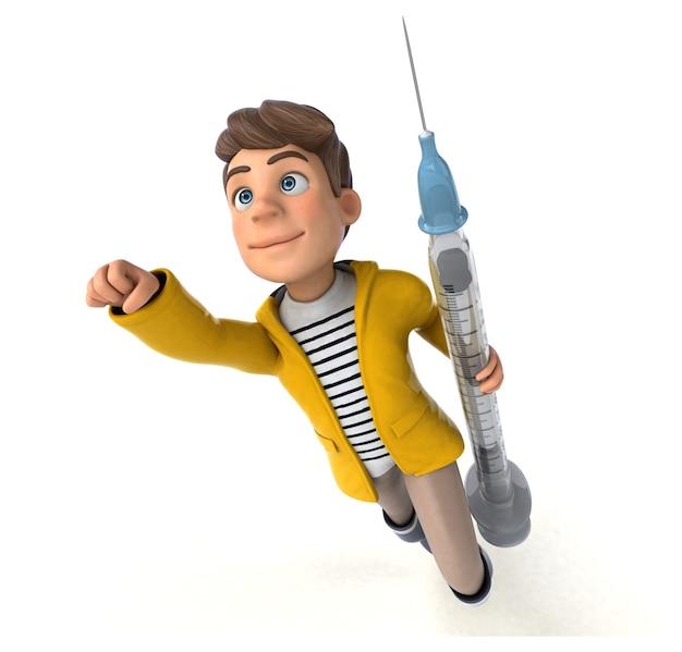 Rendu 3d amusant d'un enfant de dessin animé avec des vêtements de pluie
