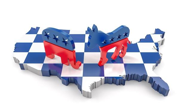 Rendu 3d de l'âne démocrate et de l'éléphant républicain