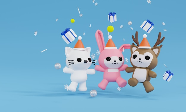 Rendu 3d animal saut et heureux avec quatre coffrets cadeaux et flocon de neige