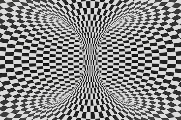 Rendu 3d d'animation de fond de tunnel rayé noir et blanc