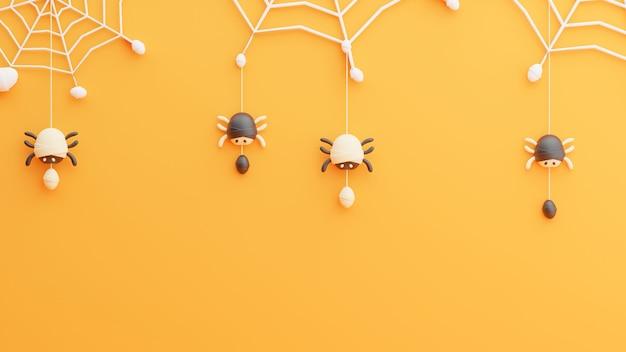 Rendu 3d d'araignée sur toile d'araignée au jour de l'halloween