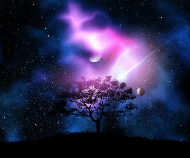 Rendu 3d d'un arbre sur une colline herbeuse contre un ciel de l'espace avec des planètes
