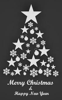Rendu 3d, arbre de noël fait d'étoiles et de flocons de neige sur fond noir. carte de voeux de noël chic, joyeux noël et bonne année