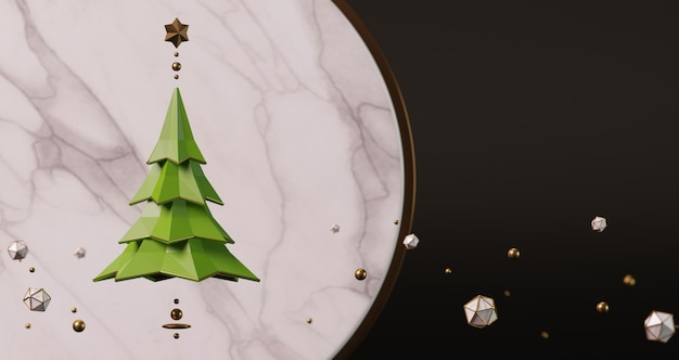 Rendu 3d d'un arbre de noël vert devant un fond de marbre circulaire avec des boules d'or et des étoiles flottant sur fond noir. concept minimal abstrait,