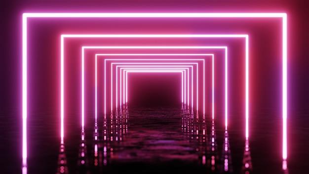 Rendu 3d, arrière-plan géométrique abstrait, lumière ultraviolette fluorescente, lignes de néon rougeoyantes, effet de profondeur de champ.