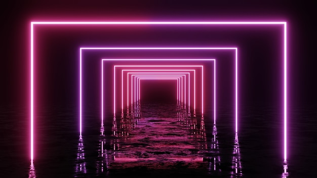 Rendu 3d, arrière-plan géométrique abstrait, lumière ultraviolette fluorescente, lignes de néon rougeoyantes.