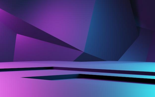 Rendu 3d de l'arrière-plan géométrique abstrait violet et bleu publicité concept cyberpunk
