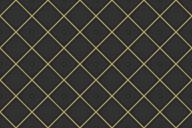 Rendu 3d. arrière-plan de mur sans couture moderne luxueux carré doré grille motif