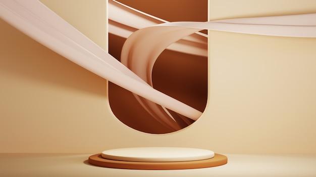 Rendu 3d d'un arrière-plan vierge pour l'affichage de décorations cosmétiques à la mode et à la crème. fond de podium moderne pour produit de luxe.