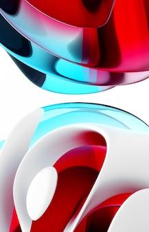 Rendu 3d de l'art abstrait 3d partie de fond de sphères de balle surréalistes dans des formes ondulées rondes courbes