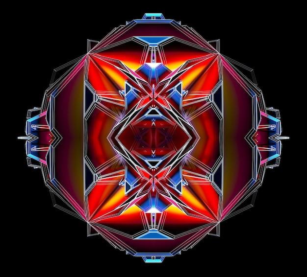 Rendu 3d de l'art abstrait avec une boîte secrète extraterrestre surréaliste ou un mécanisme cubique fractal avec des pointes acérées dans la structure filaire en métal mat en rouge jaune et bleu clair à l'intérieur sur fond noir