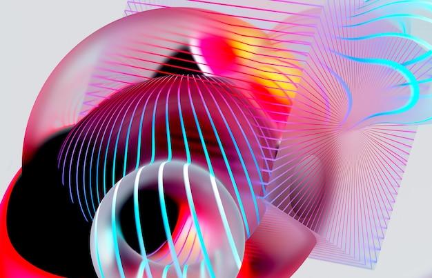 Rendu 3d de l'art abstrait avec des boules méta surréalistes ou des bulles et un cube avec des lignes courbes parallèles sur la surface