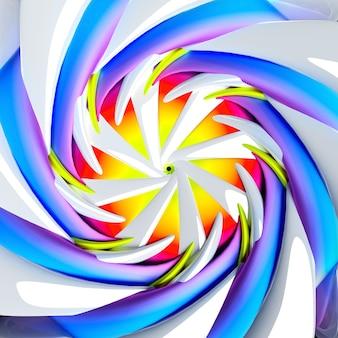 Rendu 3d de l'art abstrait avec une fleur hypnotique surréaliste en forme torsadée en spirale