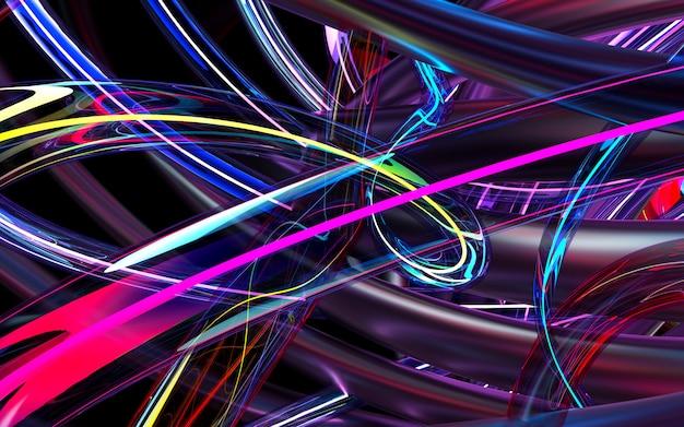 Rendu 3d d'art abstrait fond 3d basé sur des tubes ondulés ronds en verre violet et des matériaux métalliques roses, avec élément néon brillant