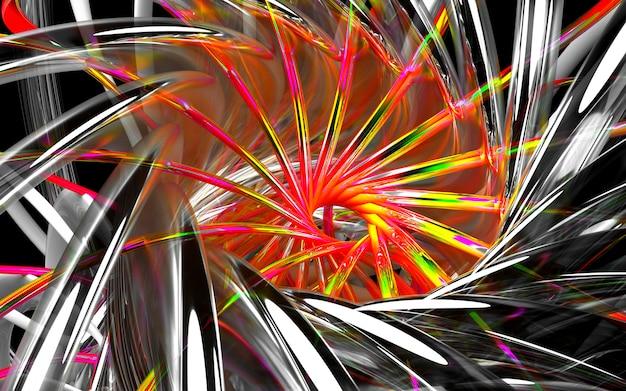 Rendu 3d d'art abstrait fond 3d avec courbe en verre tubes ronds ondulés avec de petits cordons rouges sur fond noir