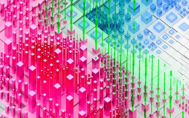 Rendu 3d d'art abstrait fond de paysage 3d topographique avec des collines ou des montagnes surréalistes basées sur des boîtes de cubes