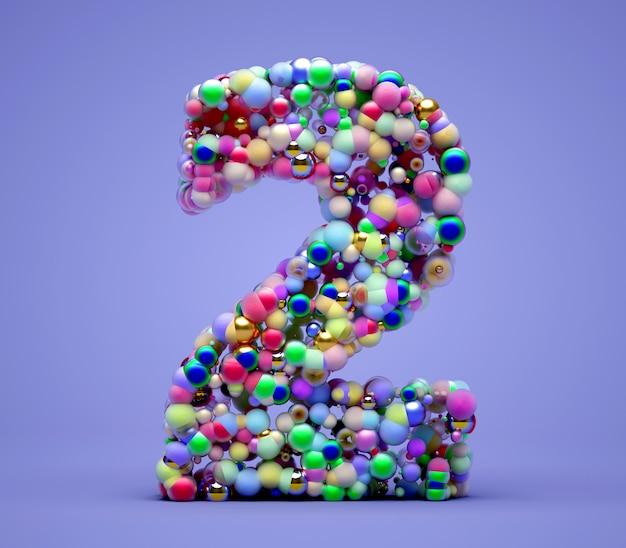 Rendu 3d de l'art abstrait de la lettre symbole ou signe numéro deux basé sur des particules de petites boules de bonbons de couleur